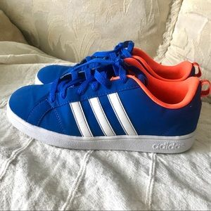 Adidas Blue and Orange Sneakers. neo label